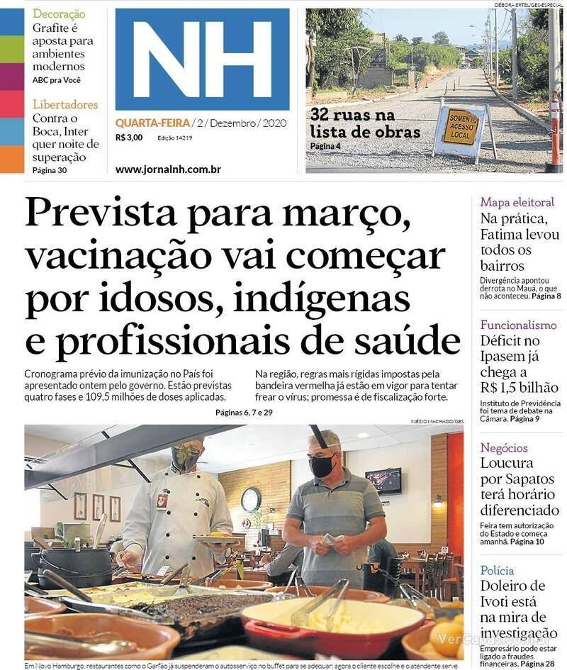 Capa do jornal Jornal NH 02/12/2020