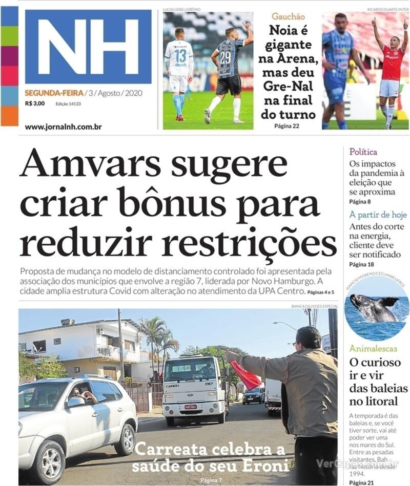 Capa do jornal Jornal NH 03/08/2020