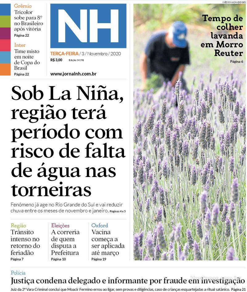 Capa do jornal Jornal NH 03/11/2020