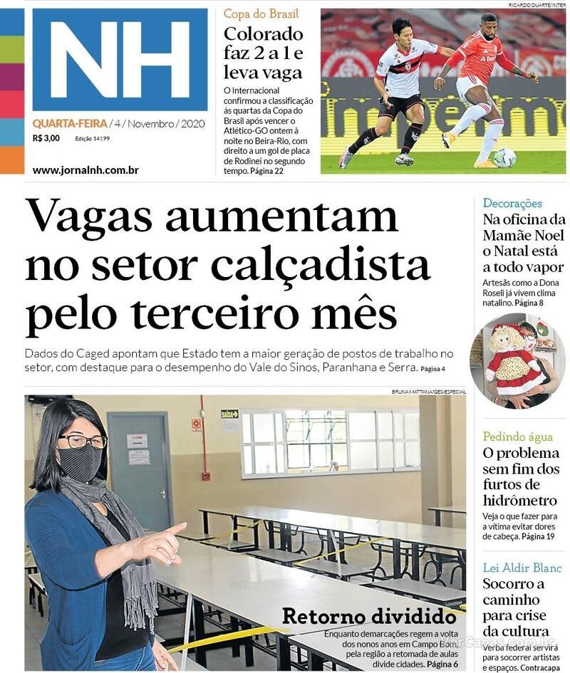 Capa do jornal Jornal NH 04/11/2020