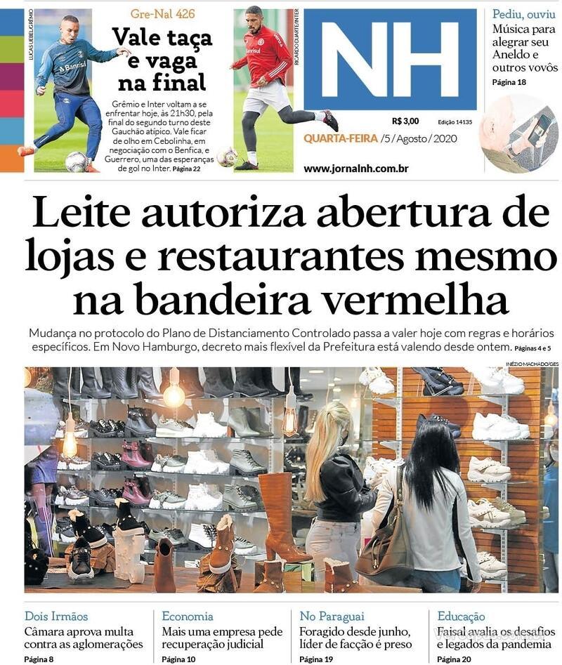 Capa do jornal Jornal NH 05/08/2020