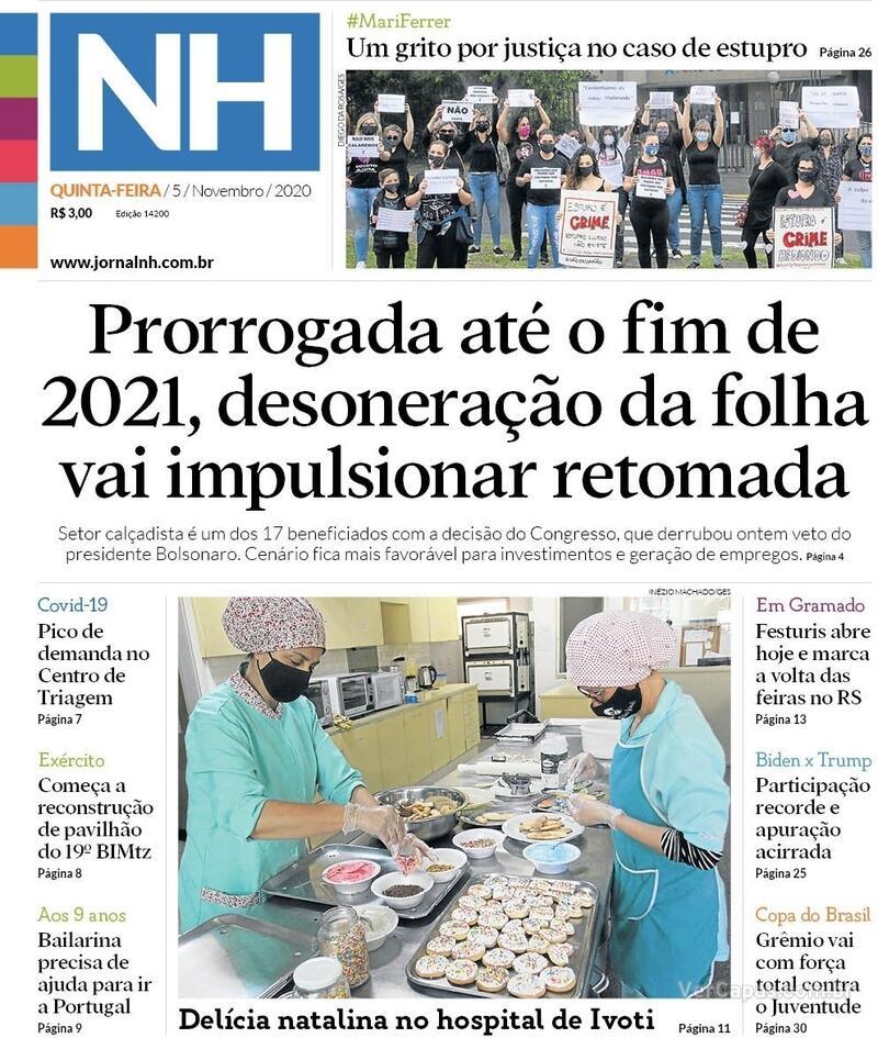 Capa do jornal Jornal NH 05/11/2020