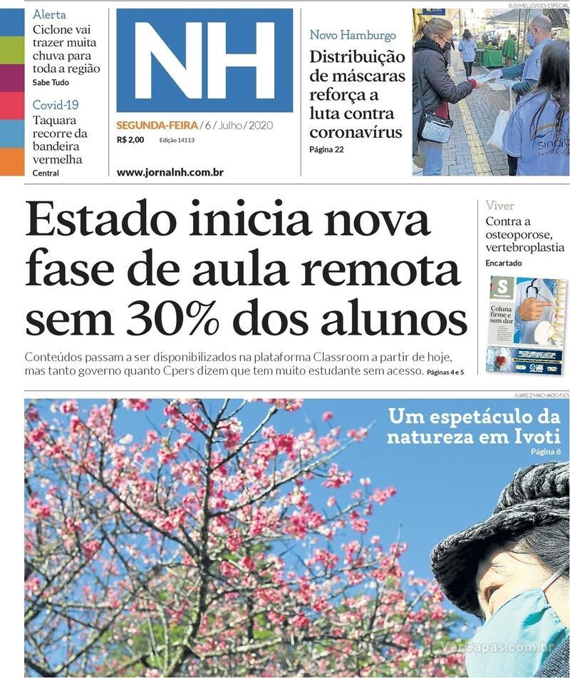 Capa do jornal Jornal NH 06/07/2020