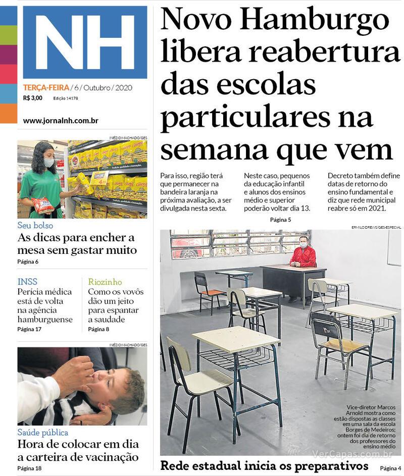 Capa do jornal Jornal NH 06/10/2020