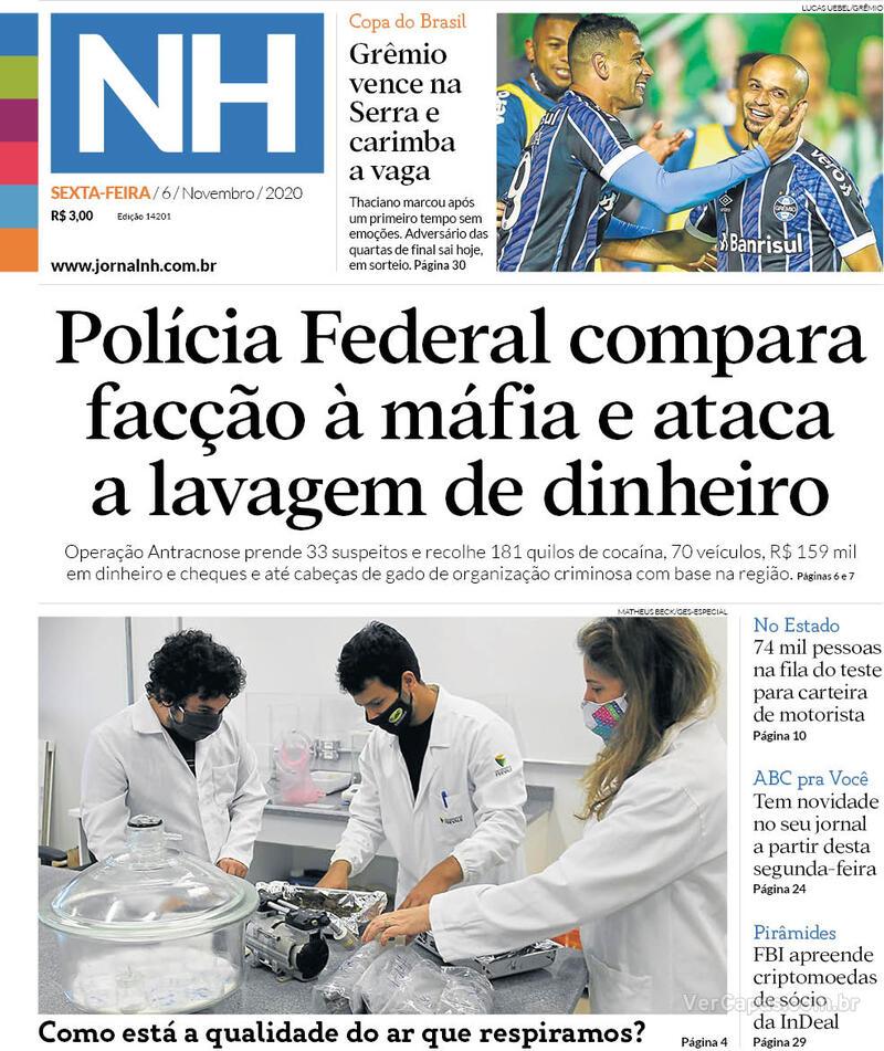 Capa do jornal Jornal NH 06/11/2020