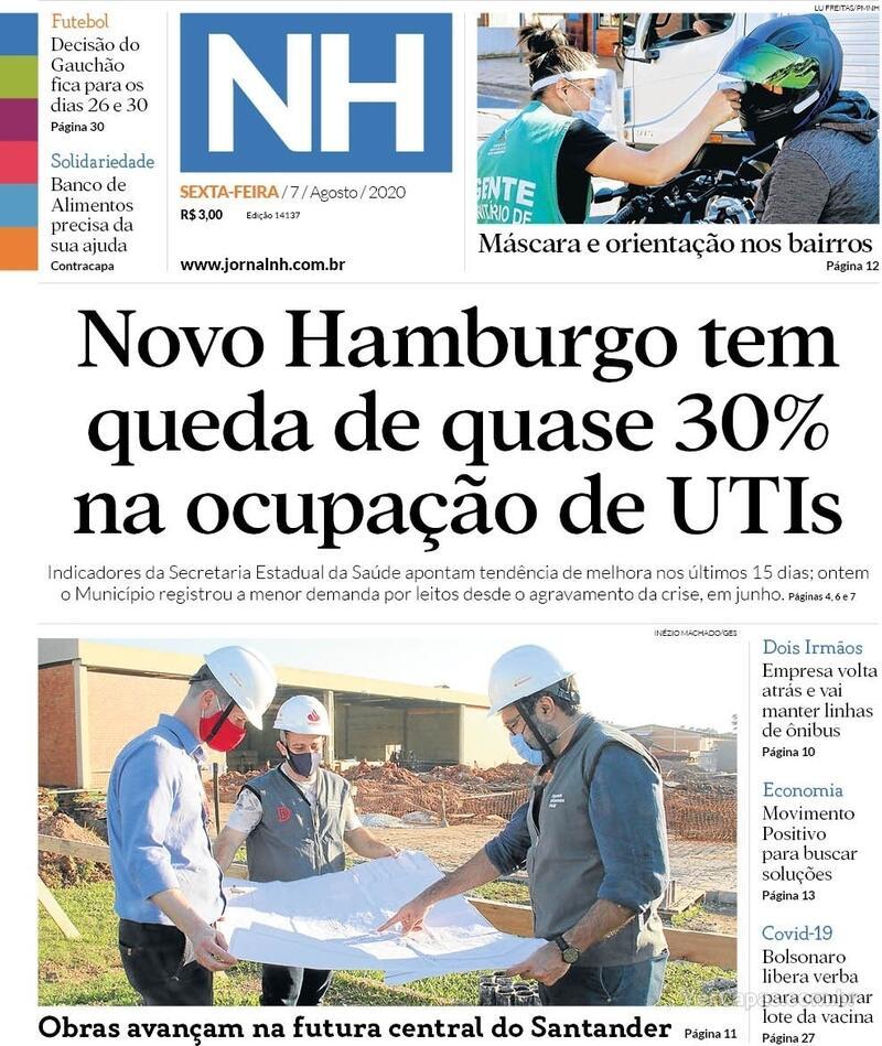 Capa do jornal Jornal NH 07/08/2020