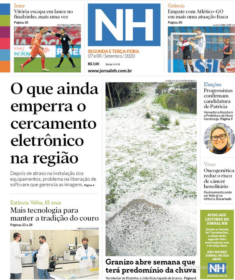 Capa do jornal Jornal NH 07/09/2020