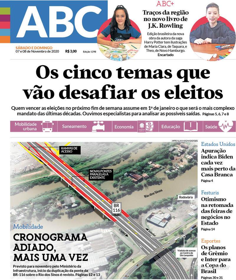 Capa do jornal Jornal NH 07/11/2020