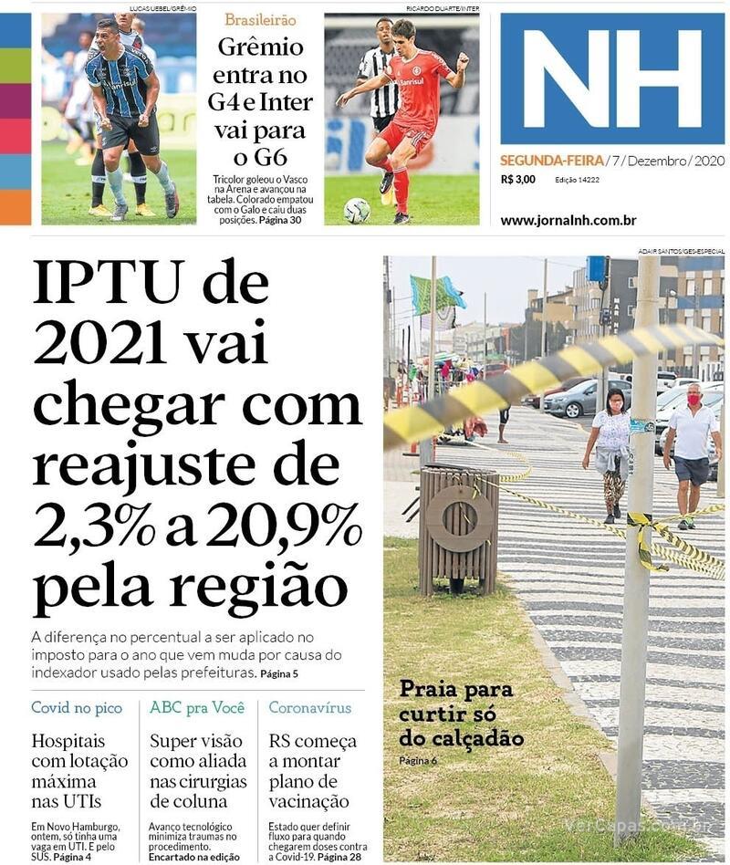 Capa do jornal Jornal NH 07/12/2020