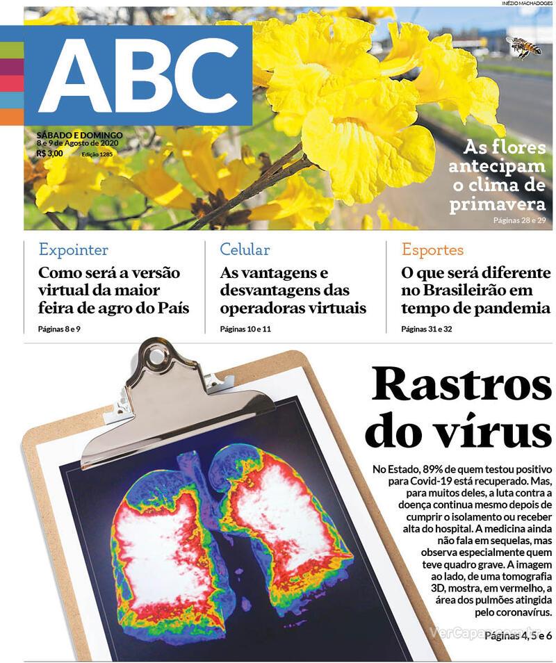Capa do jornal Jornal NH 08/08/2020