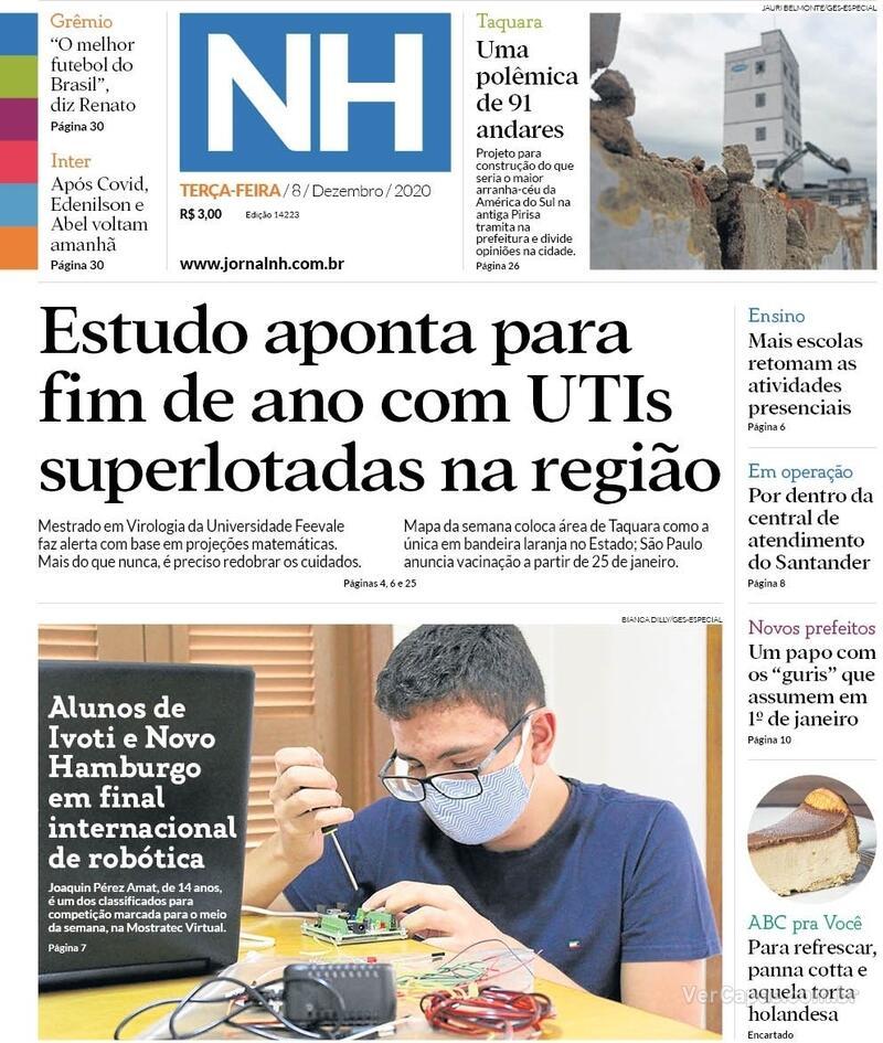 Capa do jornal Jornal NH 08/12/2020