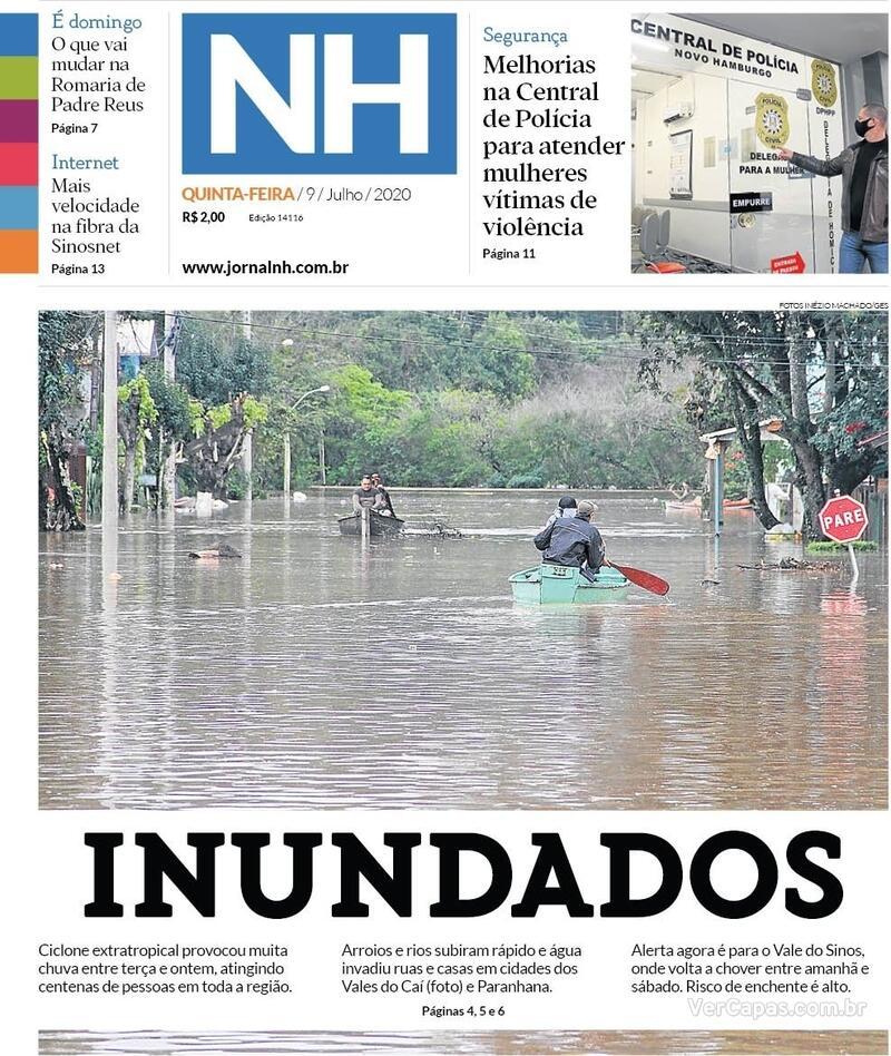 Capa do jornal Jornal NH 09/07/2020