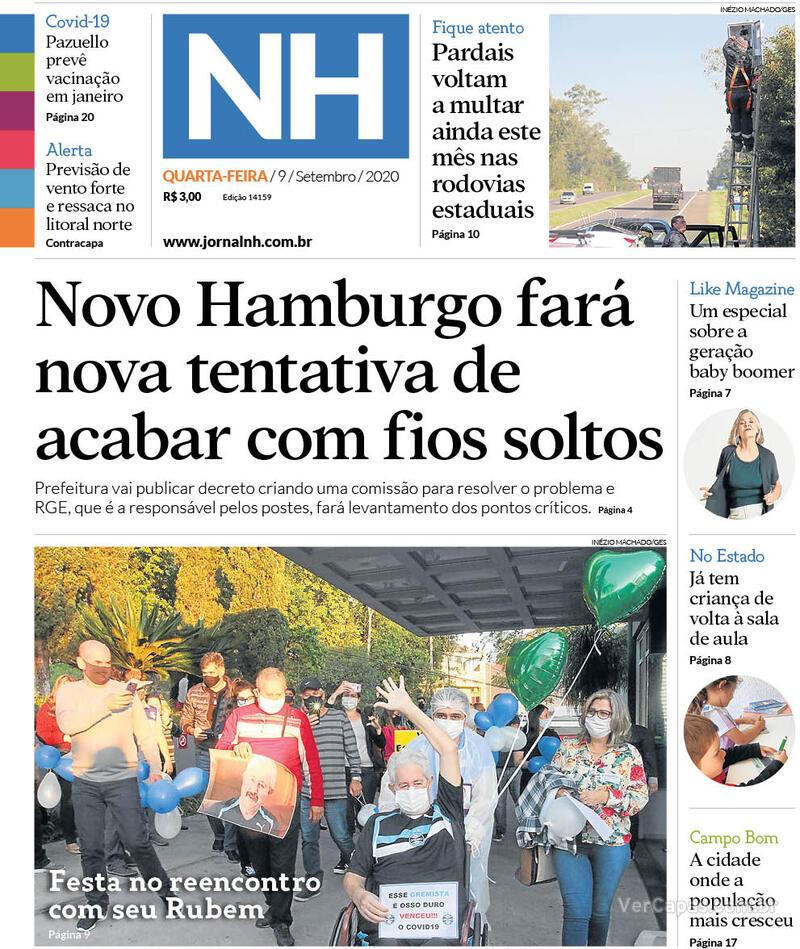 Capa do jornal Jornal NH 09/09/2020