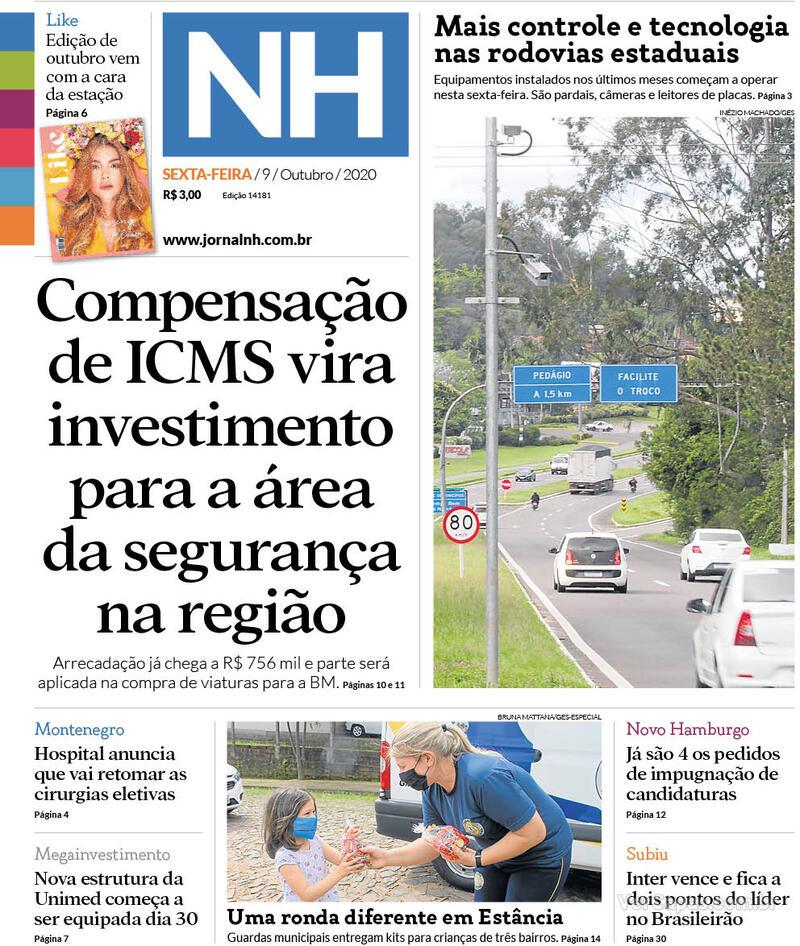 Capa do jornal Jornal NH 09/10/2020