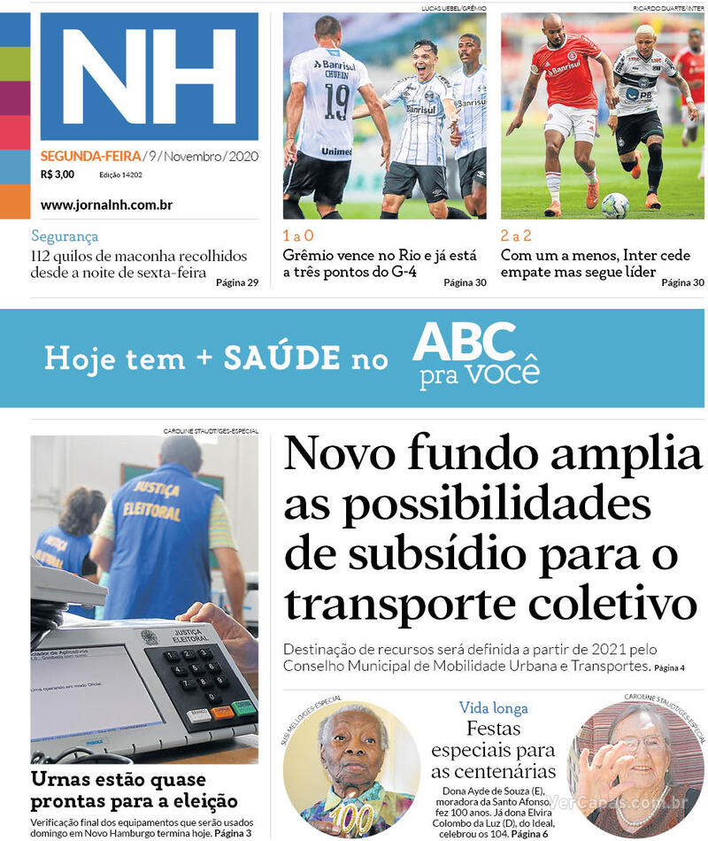 Capa do jornal Jornal NH 09/11/2020