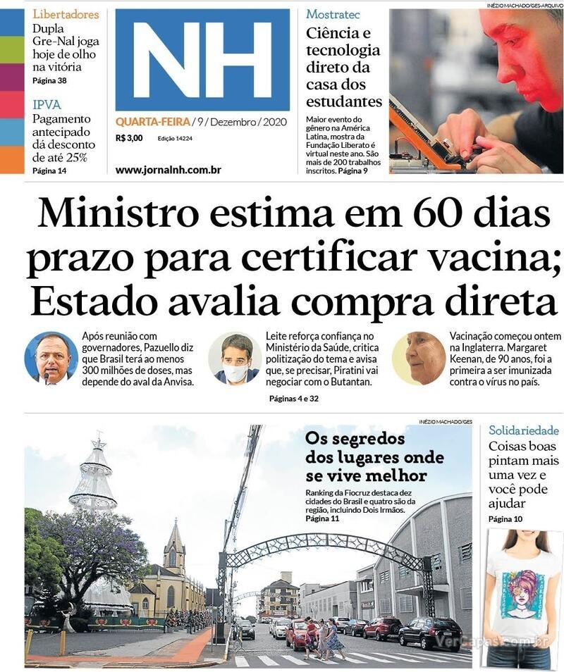 Capa do jornal Jornal NH 09/12/2020