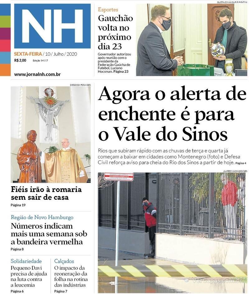 Capa do jornal Jornal NH 10/07/2020