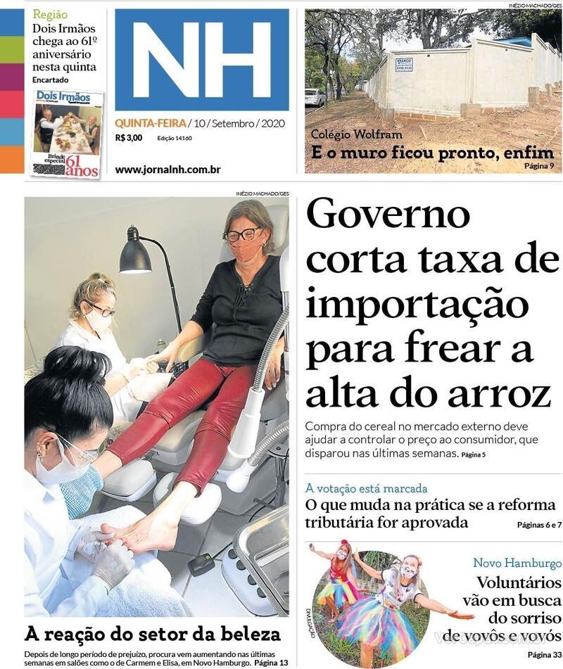 Capa do jornal Jornal NH 10/09/2020