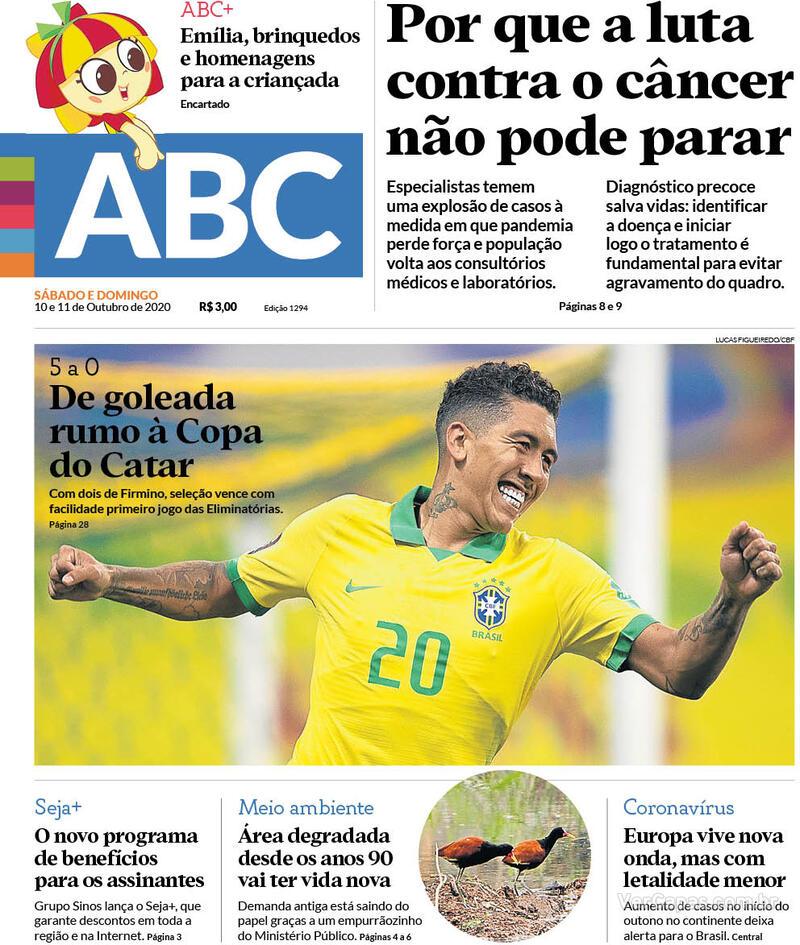 Capa do jornal Jornal NH 10/10/2020