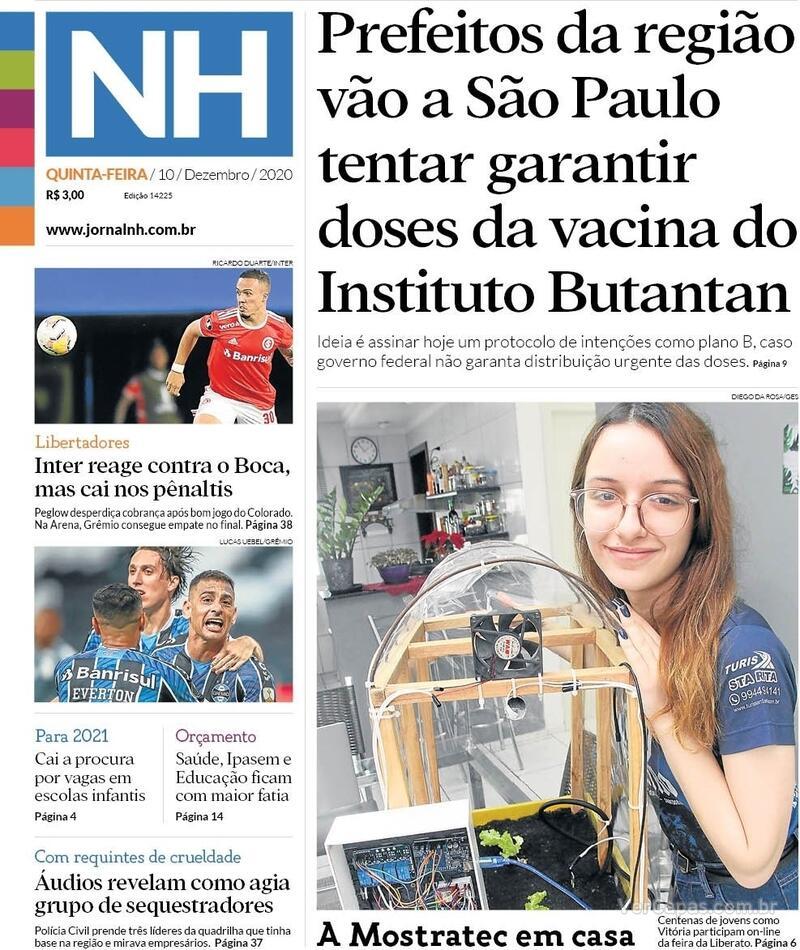 Capa do jornal Jornal NH 10/12/2020