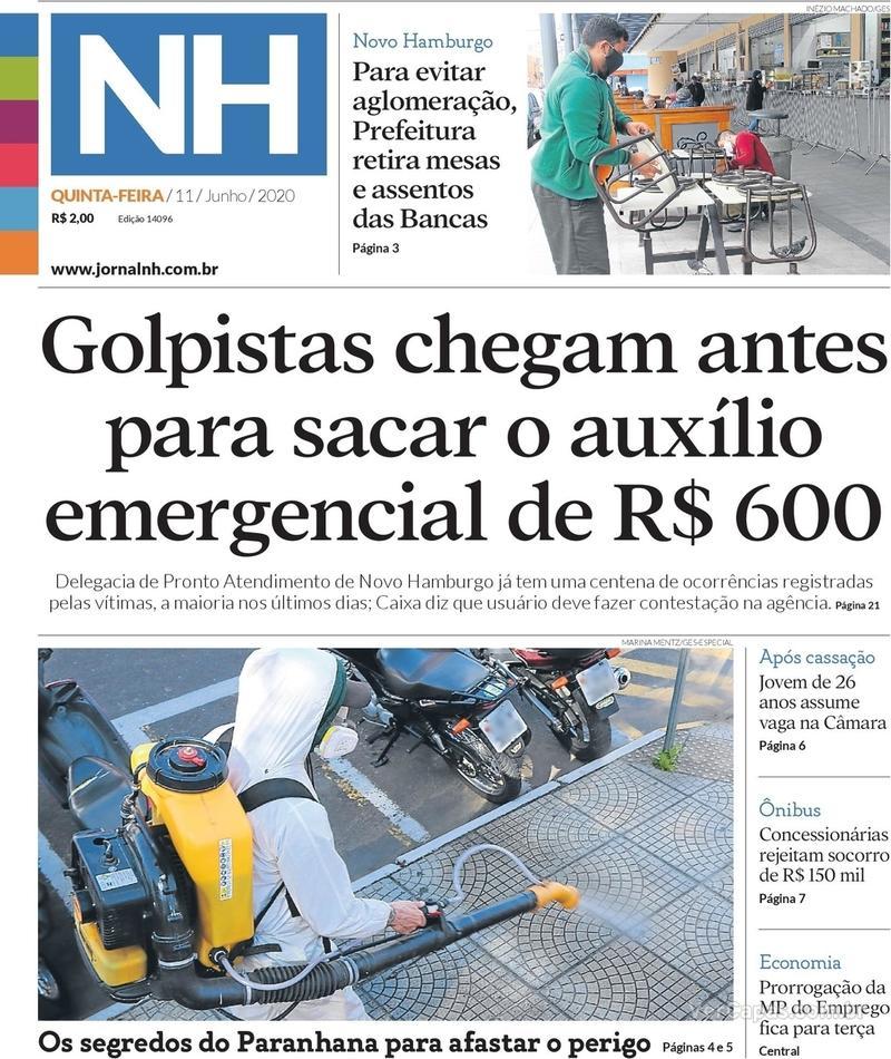Capa do jornal Jornal NH 11/06/2020