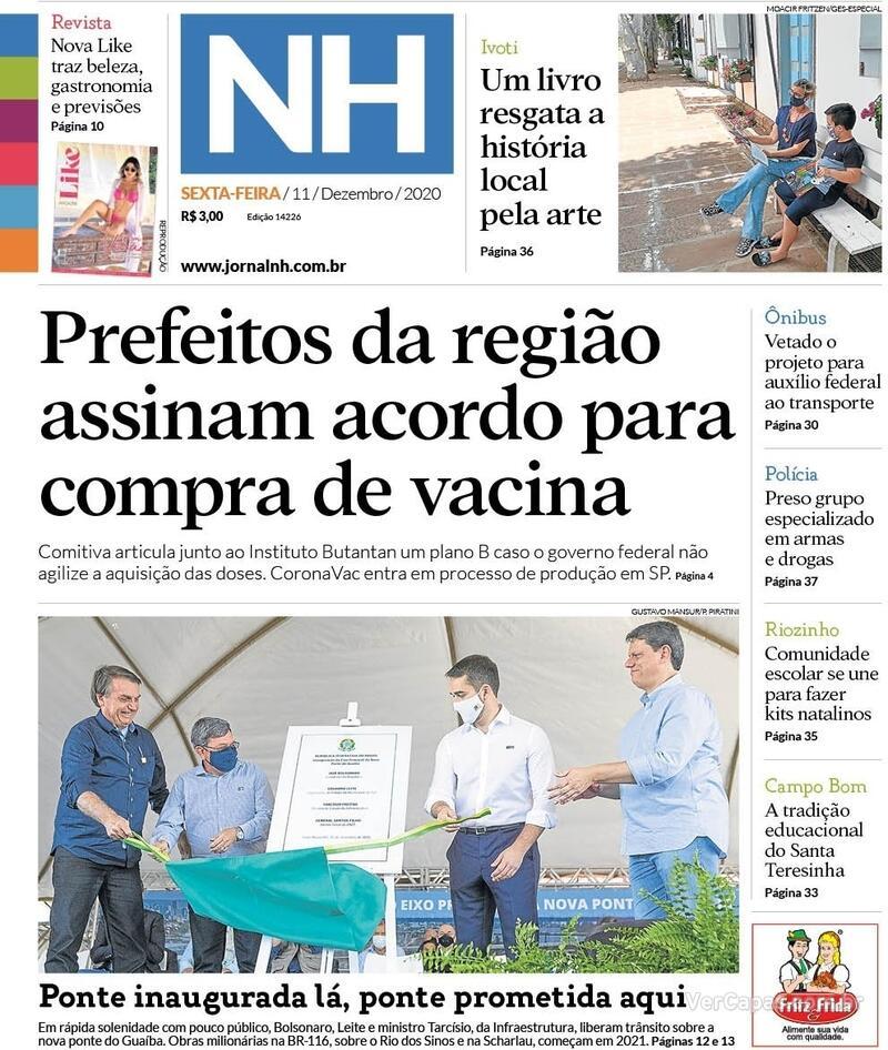 Capa do jornal Jornal NH 11/12/2020