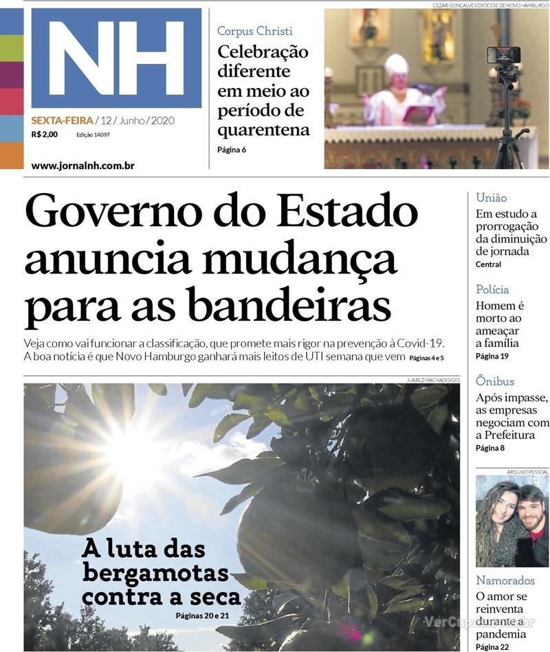 Capa do jornal Jornal NH 12/06/2020