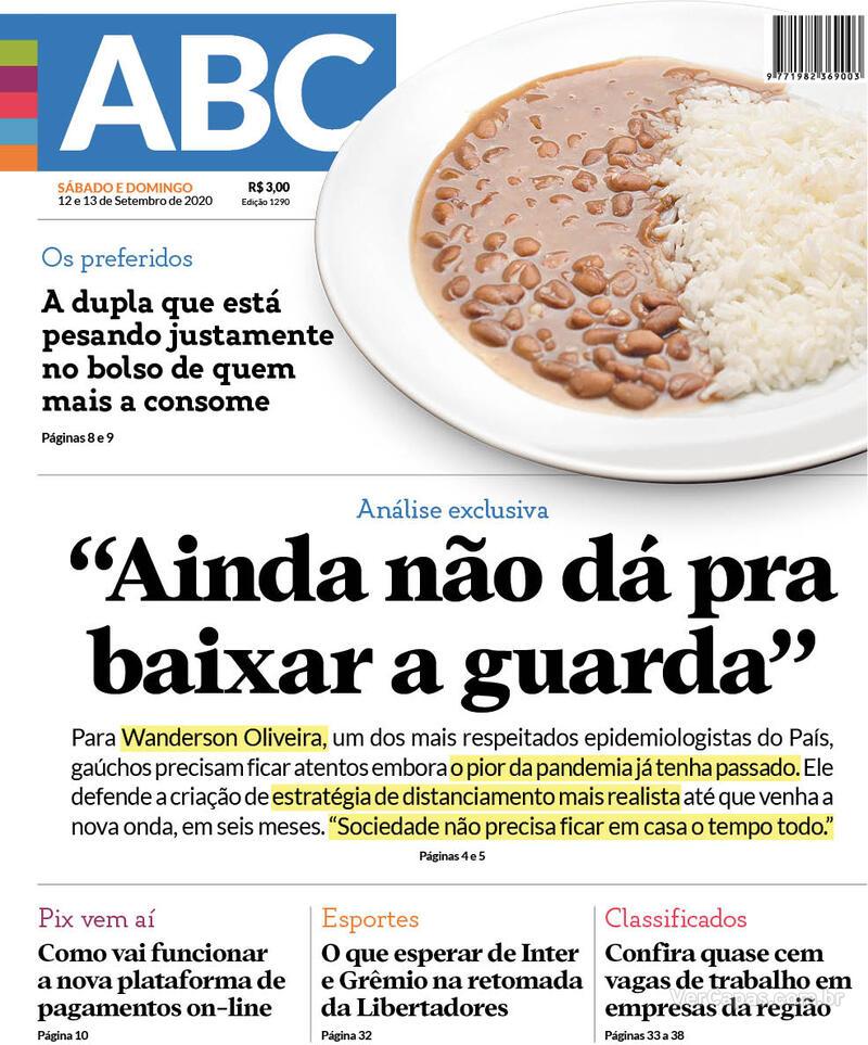 Capa do jornal Jornal NH 12/09/2020