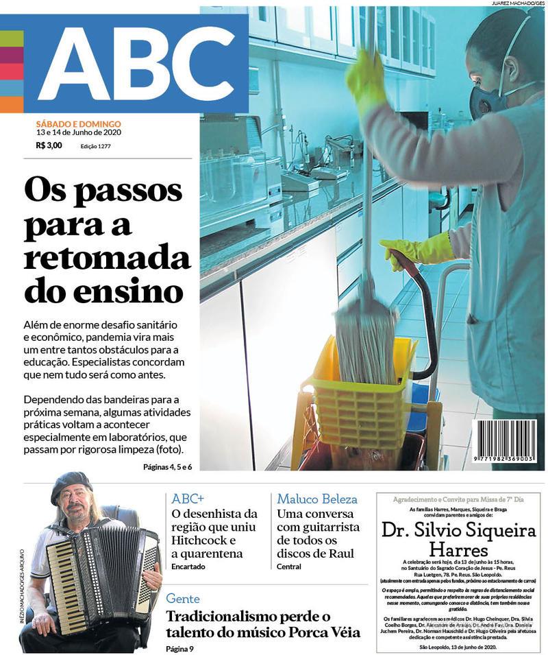 Capa do jornal Jornal NH 13/06/2020