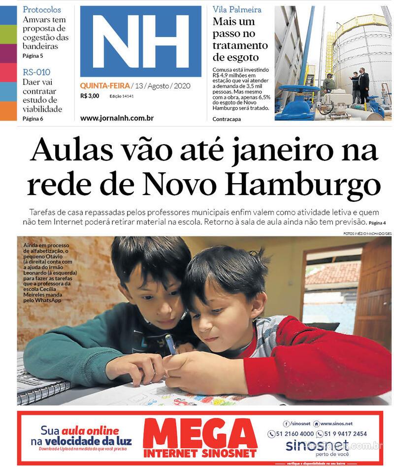 Capa do jornal Jornal NH 13/08/2020