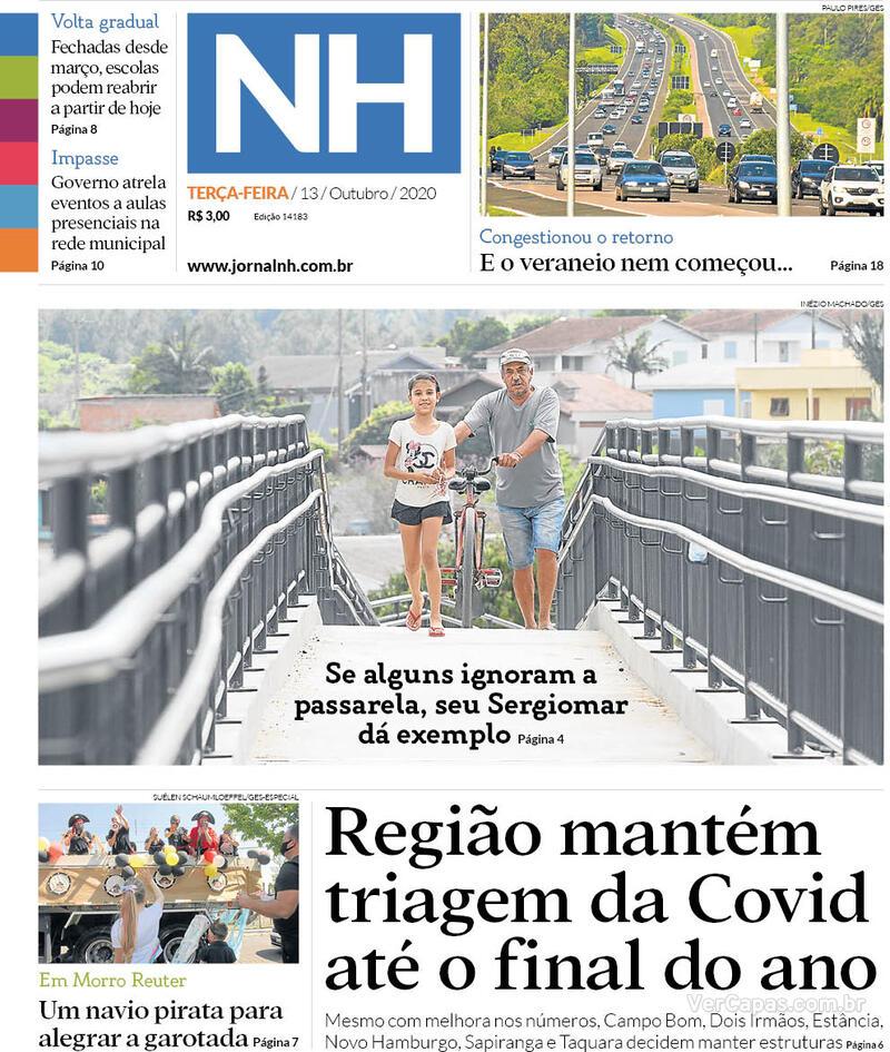 Capa do jornal Jornal NH 13/10/2020