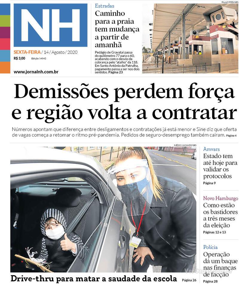 Capa do jornal Jornal NH 14/08/2020