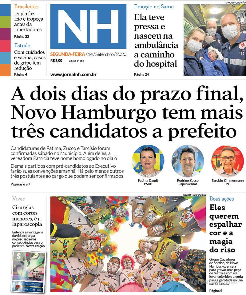 Capa do jornal Jornal NH 14/09/2020