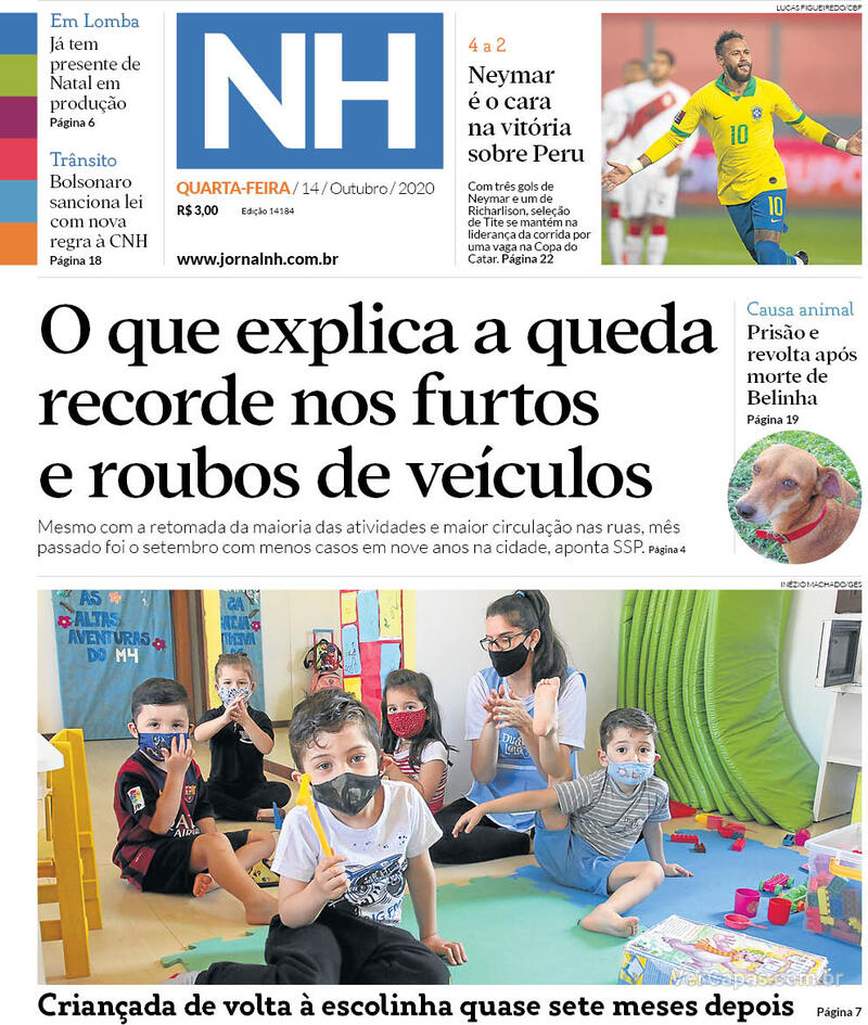 Capa do jornal Jornal NH 14/10/2020