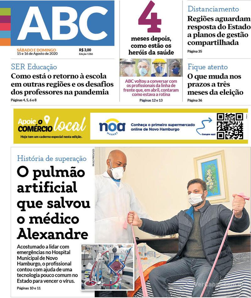 Capa do jornal Jornal NH 15/08/2020