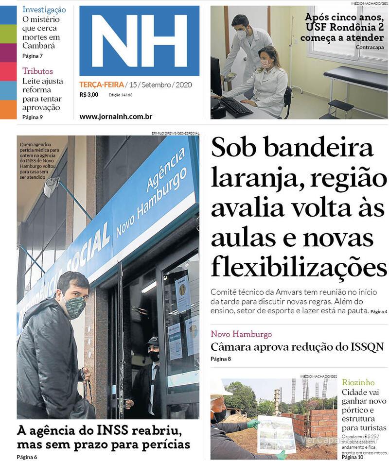 Capa do jornal Jornal NH 15/09/2020