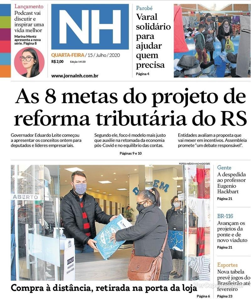 Capa do jornal Jornal NH 16/07/2020