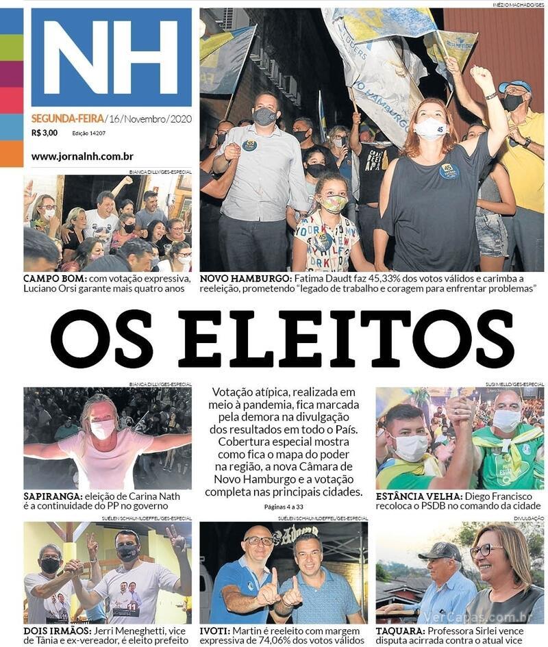 Capa do jornal Jornal NH 16/11/2020