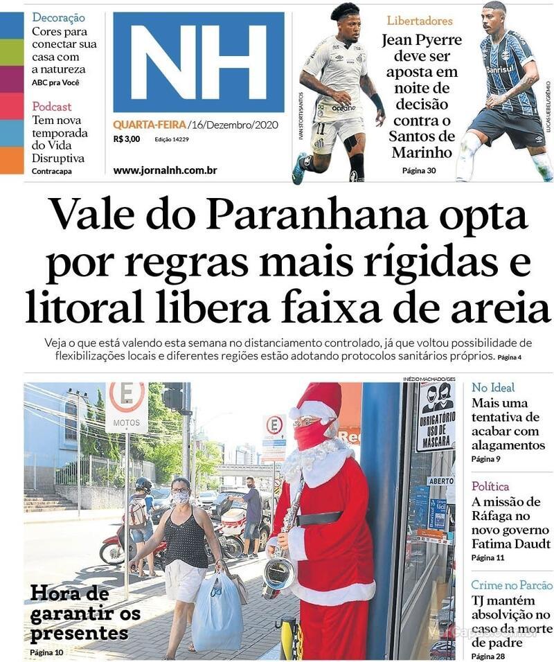 Capa do jornal Jornal NH 16/12/2020