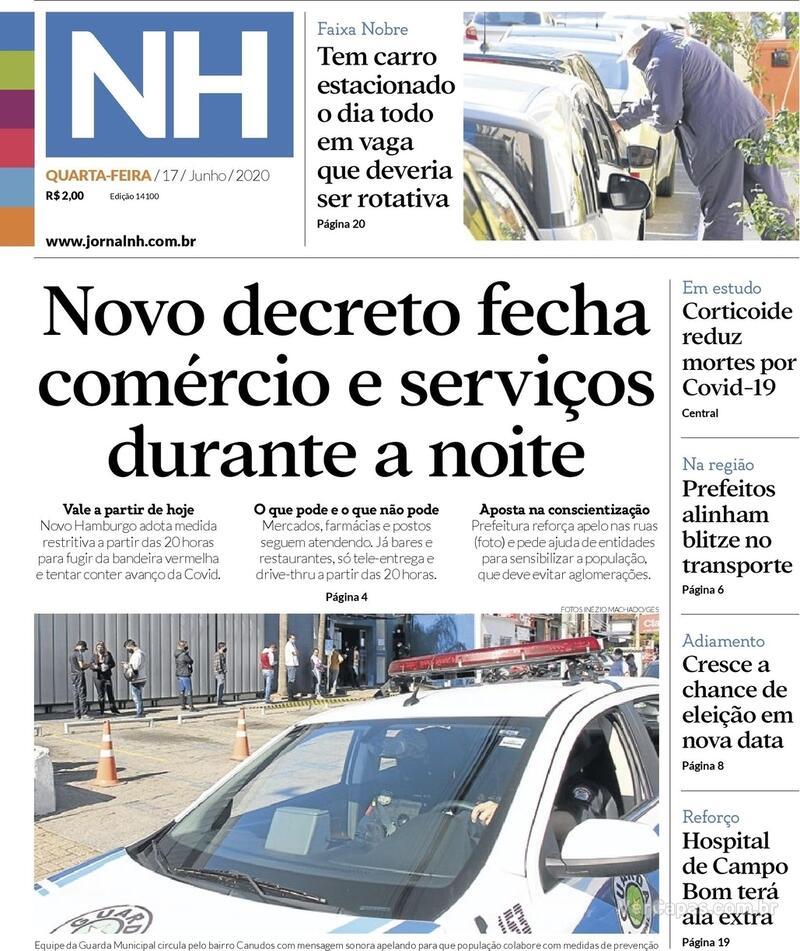Capa do jornal Jornal NH 17/06/2020