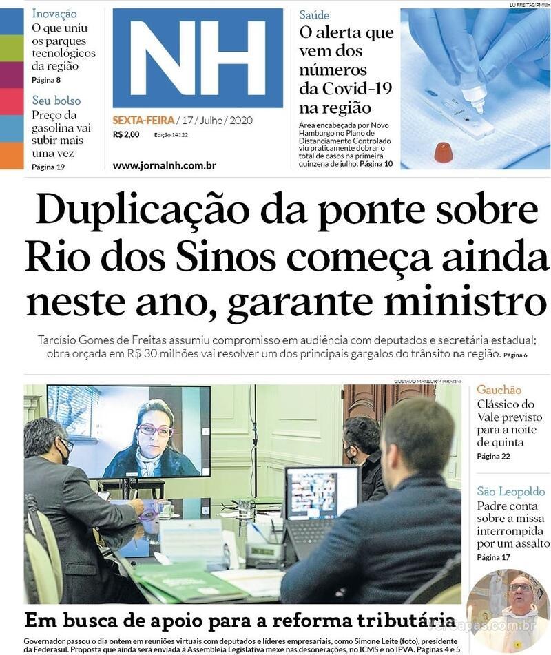 Capa do jornal Jornal NH 17/07/2020