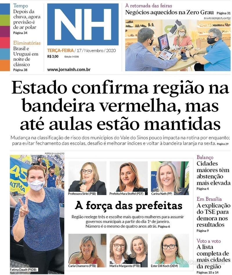 Capa do jornal Jornal NH 17/11/2020
