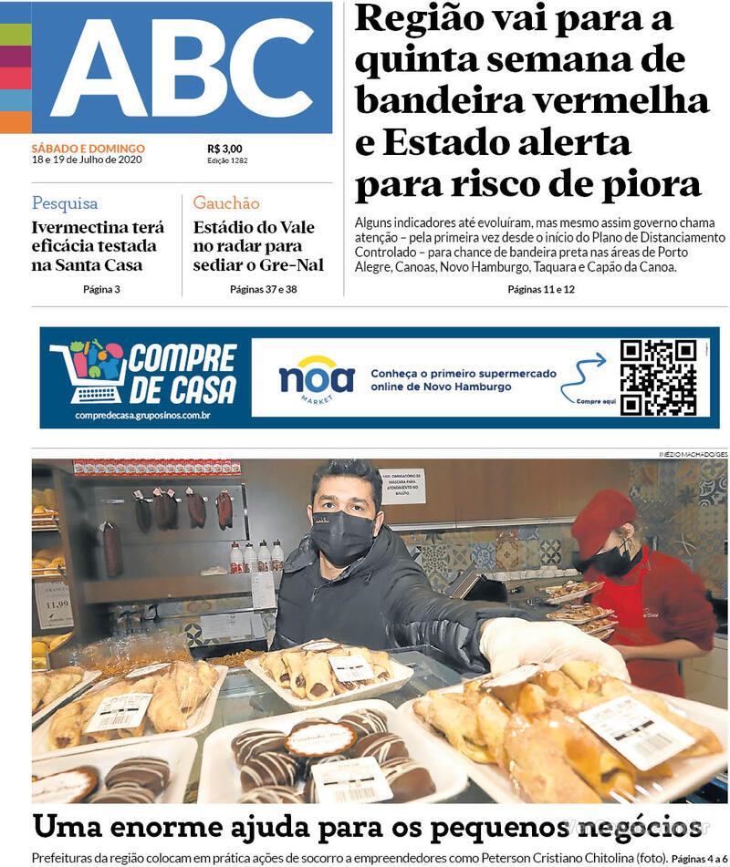 Capa do jornal Jornal NH 18/07/2020