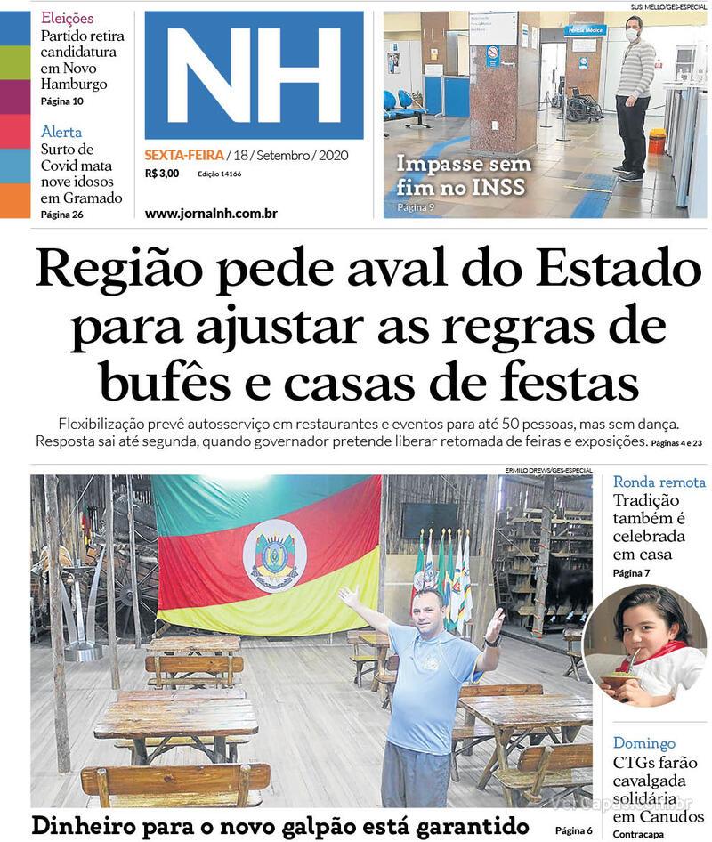 Capa do jornal Jornal NH 18/09/2020