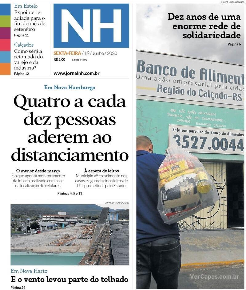 Capa do jornal Jornal NH 19/06/2020