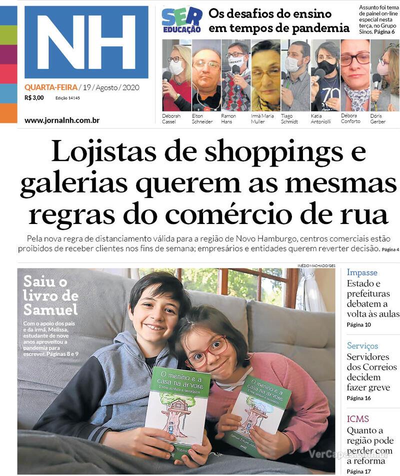 Capa do jornal Jornal NH 19/08/2020