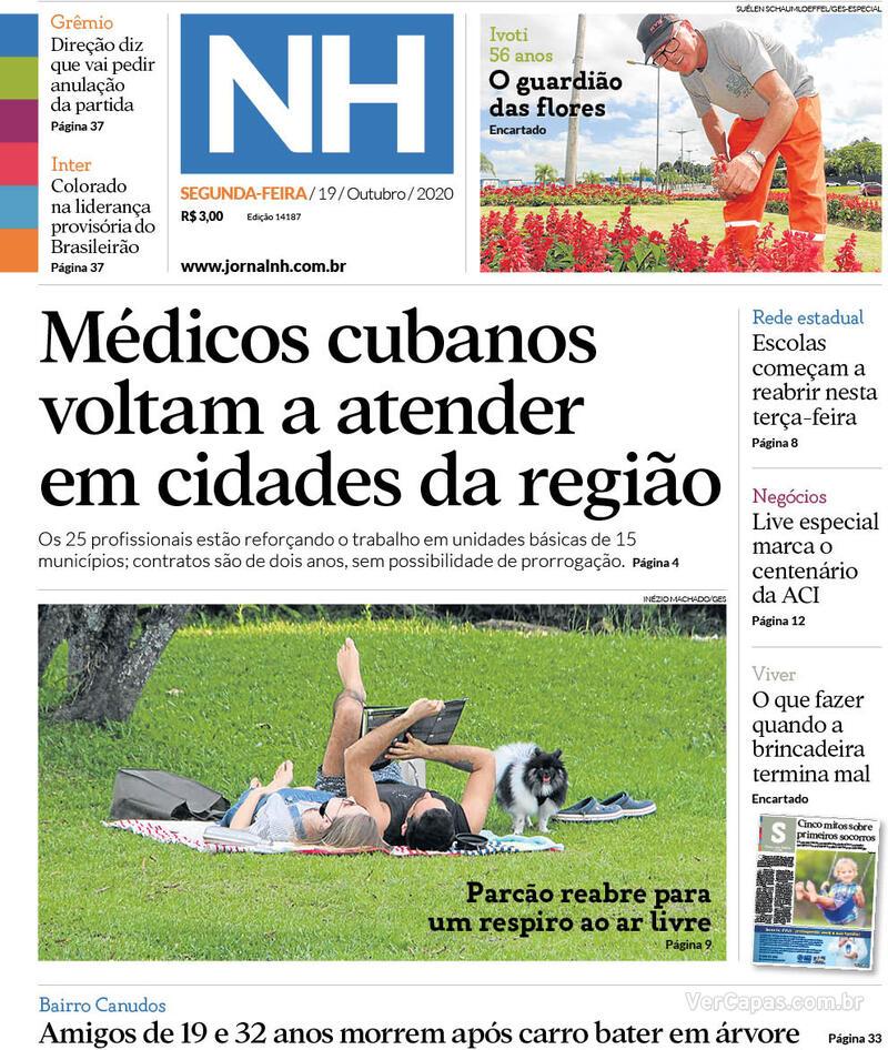 Capa do jornal Jornal NH 19/10/2020