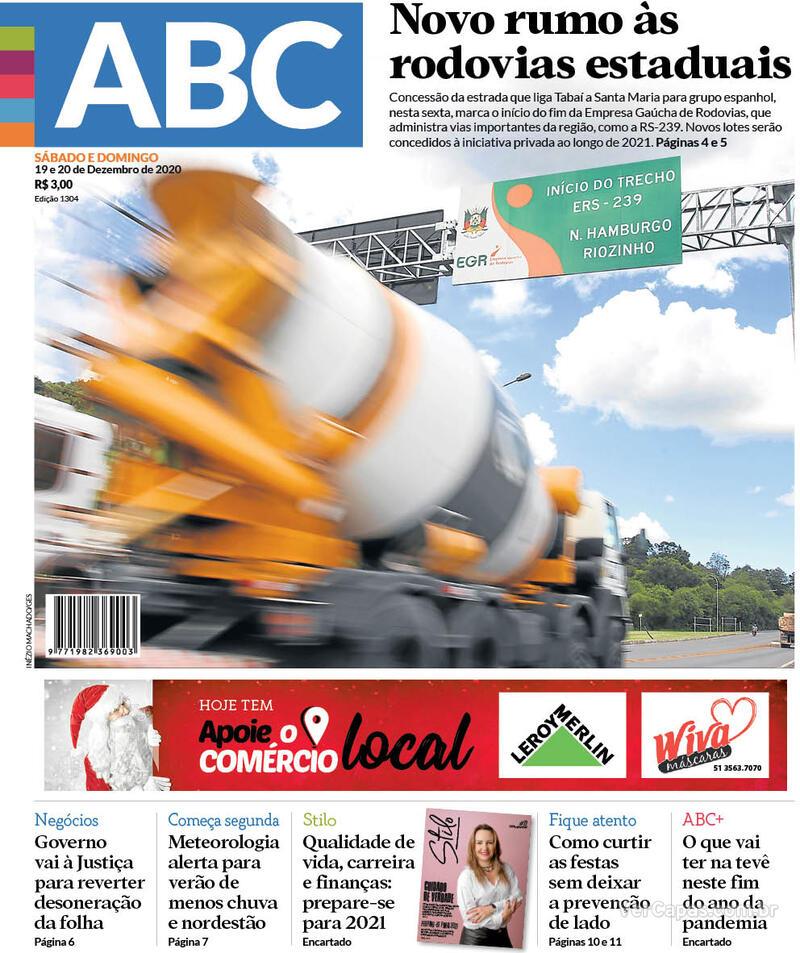 Capa do jornal Jornal NH 19/12/2020