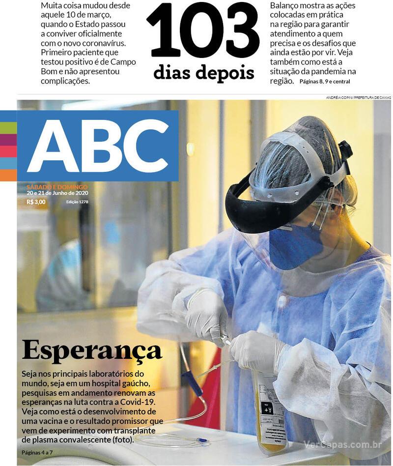 Capa do jornal Jornal NH 20/06/2020