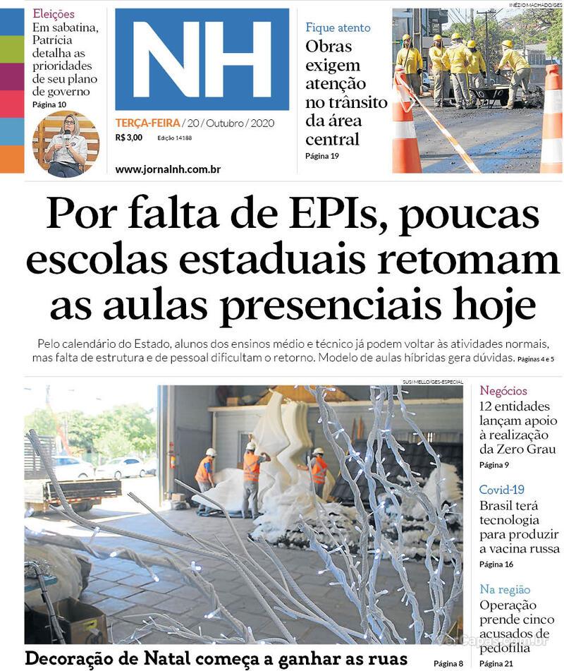 Capa do jornal Jornal NH 20/10/2020